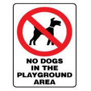 Prohibition safety sign - No Dogs In 167